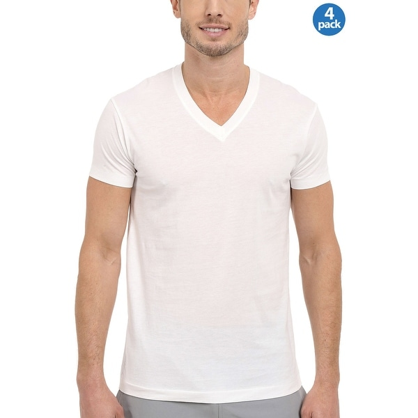 Kirkland V-Neck Pima Cotton Undershirts T-Shirts White 4-Pack X-Large XL