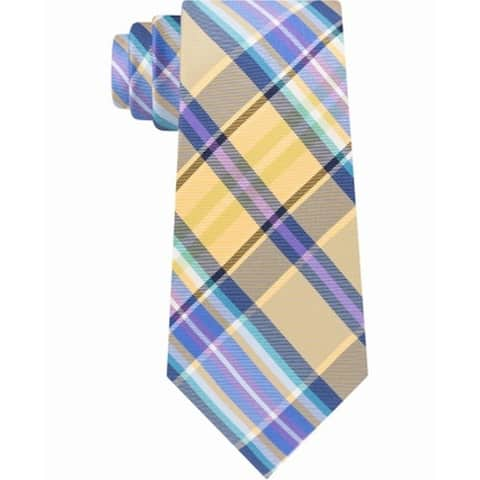 Tommy Hilfiger Yellow Blue Mens One Size Happy Color Plaid Silk Neck Tie