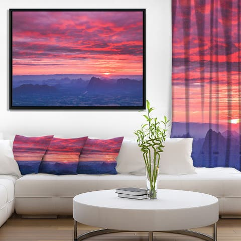 Designart 'Red and Blue Winter Mountains' Landscape Photography Framed Canvas Print