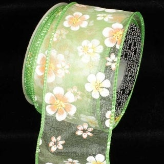 "Sheer Lime Green Gerbera Daisy Print Wired Craft Ribbon 2.5"" x 40 Yards"