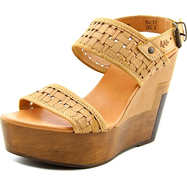 Musse & Cloud Poslow Women Open Toe Faux Leather Wedge Sandal