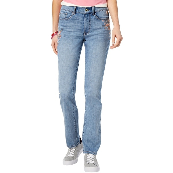 6008ab80 Tommy Hilfiger Womens Embroidered Botanical Garden Straight Leg Jeans 14  Blue