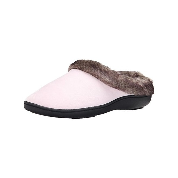 Isotoner Womens Slip-On Slippers Velour Faux Fur