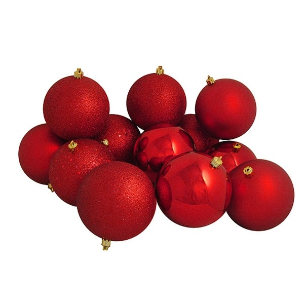 "12ct Shatterproof Red Hot 4-Finish Christmas Ball Ornaments 4"" (100mm)"