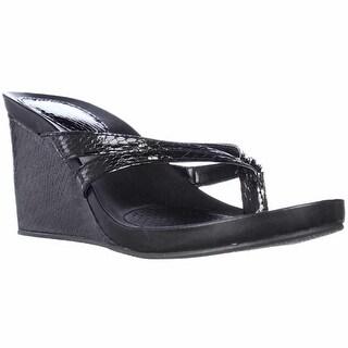 SC35 Cassiee Wedge Flip Flops - Black Snake