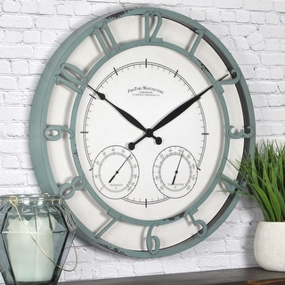 FirsTime & Co.® Laguna Farmhouse Outdoor Clock, American Crafted, Aged Teal, Plastic, 18 x 2 x 18 in - 18 x 2 x 18 in