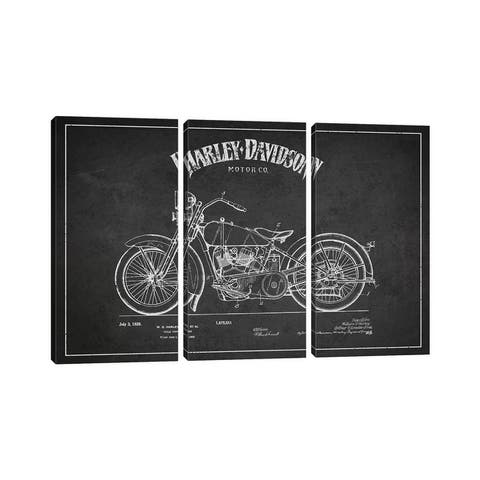 """iCanvas """"Harley-Davidson Charcoal Patent Blueprint"""" by Aged Pixel 3-Piece Canvas Wall Art Set"""