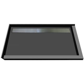 """Tile Redi RT3448BDR-PVC-S  Redi Trench 48"""" X 34"""" Corner Shower Pan with Double Threshold and 2"""" Rear Drain - Brushed Nickel"""