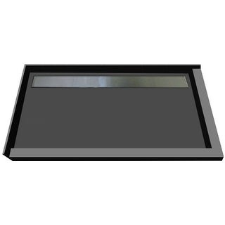 """Tile Redi RT4872BDR-PVC-S  Redi Trench 72"""" X 48"""" Corner Shower Pan with Double Threshold and 2"""" Rear Drain - Brushed Nickel"""