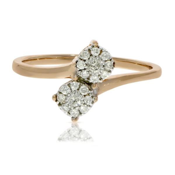 Brand New Round Brilliant Cut Natural Diamond Two Tone Bypass Cluster Ring