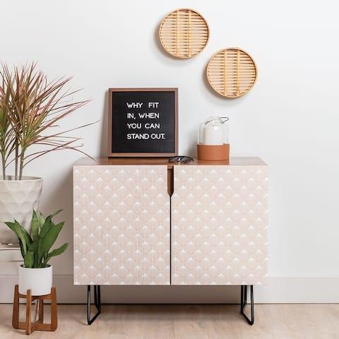 Deny Designs Pale Pink Bulbs Credenza (Birch or Walnut, 2 Leg Options)