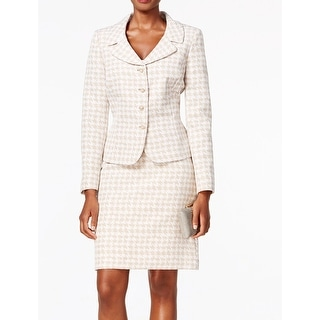 Tahari By ASL NEW Beige Women's Size 16 Houndstooth Skirt Suit Set