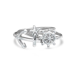 Bling Jewelry Starfish Anchor Ship Wheel Stackable Midi Rings 925 Silver