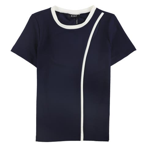 DKNY Womens Contrast Piped Pullover Blouse, blue, Small