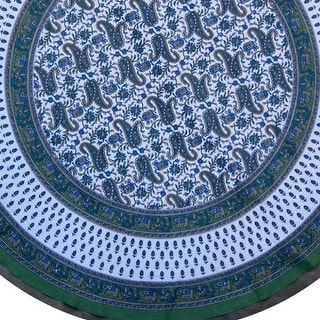 "Handmade 100% Cotton Floral Paisley and Elephant Print 72"" Round Tablecloth"
