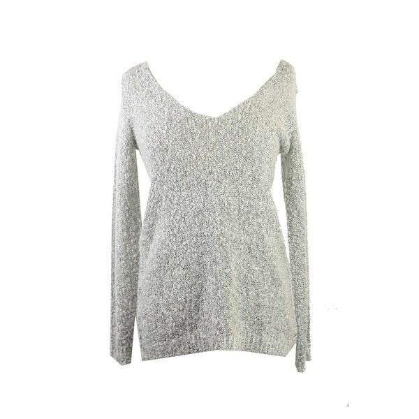 Studio M Black Ecru Long-Sleeve Boucle V-Neck Sweater M
