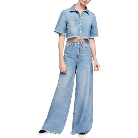Free People Womens Dust In The Wind Wide Leg Jeans