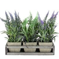 """10.25""""Lavender Decorative in Petite Vase with Distressed Wood Tray - Brown"""