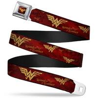 Wonder Woman Logo Rays Full Color Burgundy Gold Wonder Woman Logo Rays Seatbelt Belt