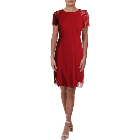 Elie Tahari Womens Cocktail Dress Crochet Trim Sheer Sleeves - Red - 4