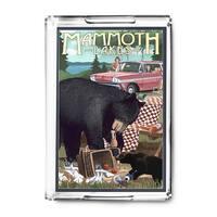 Mammoth Lakes, CA Bear & Picnic Scene - LP Artwork (Acrylic Serving Tray)
