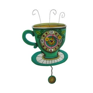 Allen Designs Sunny Cup of Coffee Pendulum Wall Clock