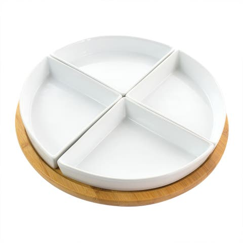 Gibson Elite Gracious Dining Wooden Lazy Susan with 4 Serving Dishes