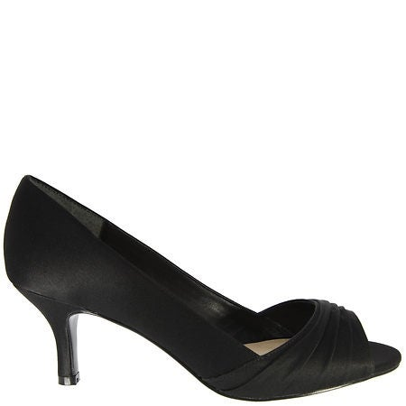 Pleated Satin Low-Heel Peep-Toe