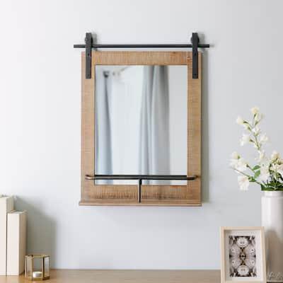 FirsTime & Co. Ingram Farmhouse Barn Door Mirror With Shelf