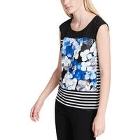 Calvin Klein Womens Casual Top Printed Sleeveless