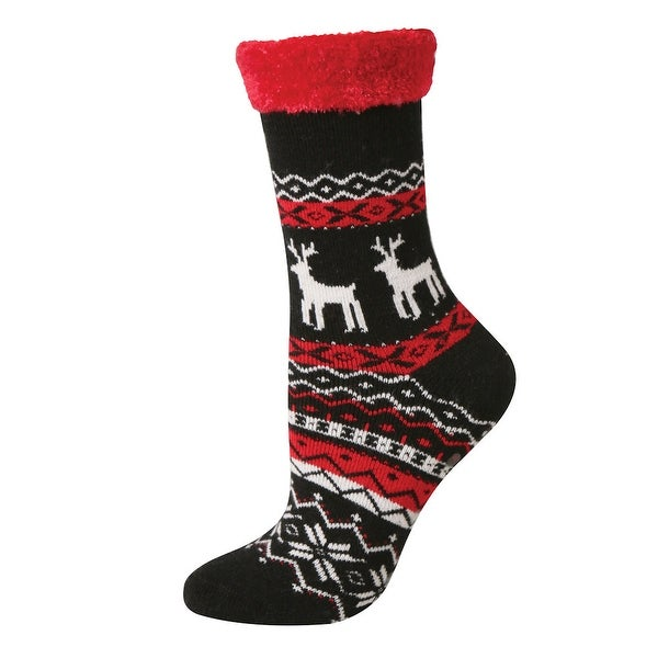 Women's Cabin and Lounge Slipper Socks - Fuzzy Holiday Prints - Medium