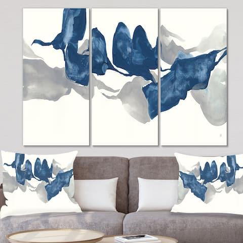 Designart 'Gouache Sapphire on Gray' Modern Canvas Art