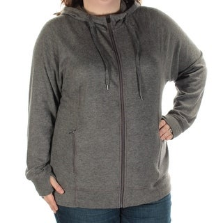 IDEOLOGY $60 Womens New 1107 Gray Hooded Zip Up Active Wear Jacket 3X Plus B+B