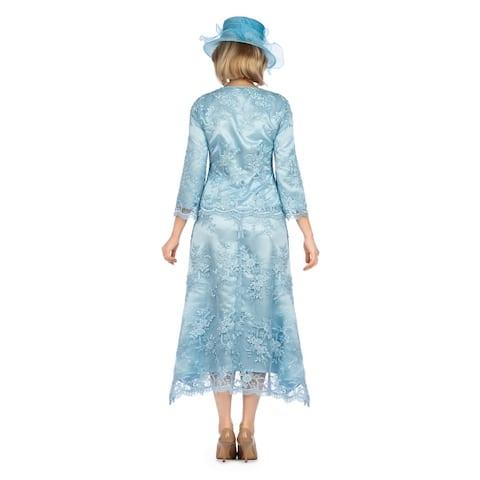 Giovanna Signature 2pc Bell Sleeve Crochet Hemmed Lace Skirt Suit