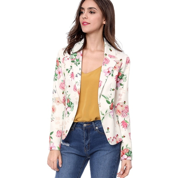 Women Allover Floral Print Notched Lapel Open Front Blazer. Opens flyout.