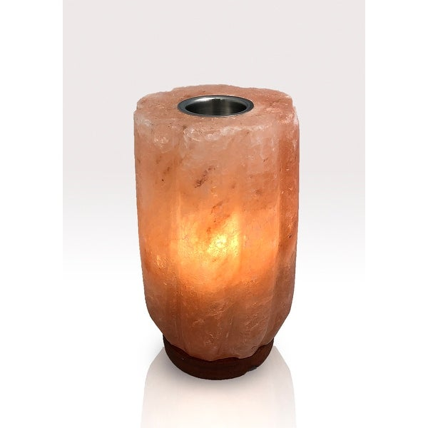 Round Bamboo Aromatherapy Himalayan Lamp with One Oil - Orange. Opens flyout.
