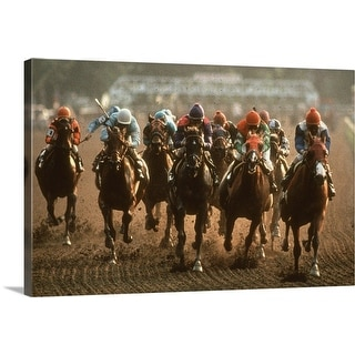 """Horse Race"" Canvas Wall Art"