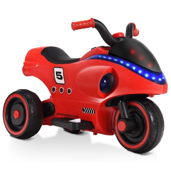 Gymax 6V Kids Ride On Motorcycle 3 Wheels Battery Powered W/ Light Horn Music Toy Red
