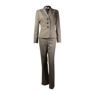 Le Suit Women's Torino Notch Crosshatch Pant Suit (4P, Taupe) - taupe - 4P