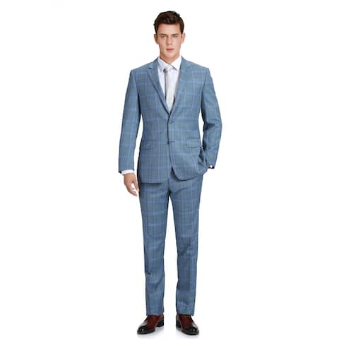 Men's Two Piece Classic Fit Windowpane Check Dress Suit