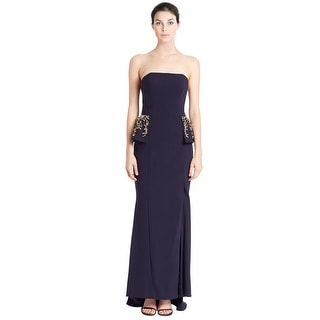 Jovani Strapless Rhinestone Embellished Peplum Evening Gown Dress