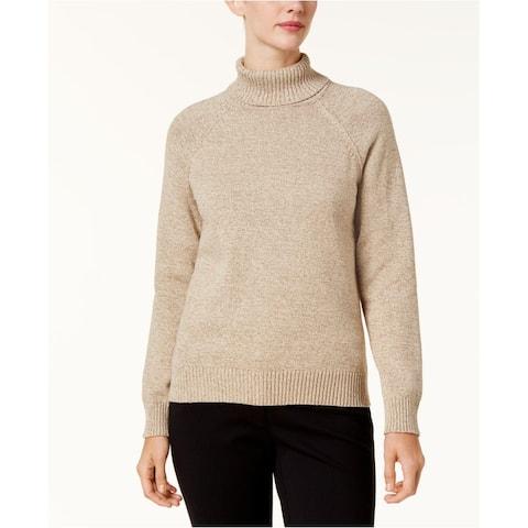 Karen Scott Women's Marled-Knit Quarter-Zip Sweater Brown Size Large