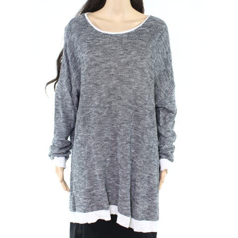 Eileen Fisher Womens Sweater Black Size 3X Plus Knit Marled-Knit
