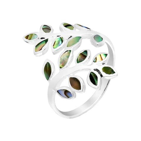 Handmade Peaceful Olive Branch Stone Inlay Wrap Ring (Thailand)