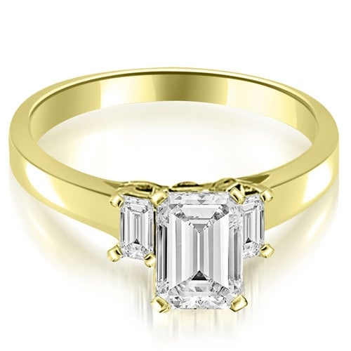 1.65 cttw. 14K Yellow Gold Emerald Cut Three Stone Diamond Engagement Ring