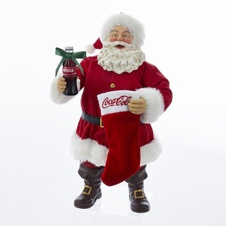 """10"""" Bright Red and White Santa With Coke Bottle and Stocking Table Piece"""