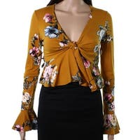 Polly & Esther Mustard Womens Medium Floral Crop Top