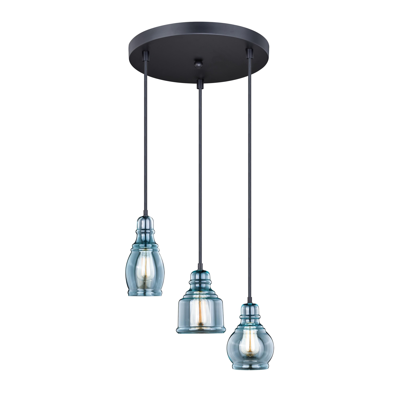 Millie 3l Bronze Farmhouse Jar Pendant Chandelier Ceiling Light Fixture Blue Glass 17 5 In W X 17 75 In H X 17 5 In D Overstock 20907191
