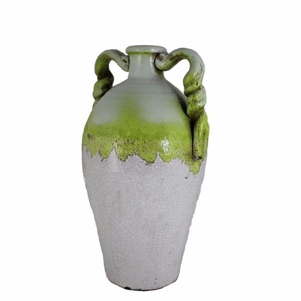 Ceramic Vase, White And Green(EN40396)