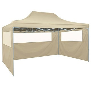 vidaXL Foldable Tent Pop-Up with 4 Side Walls 9.8'x14.8' Cream White